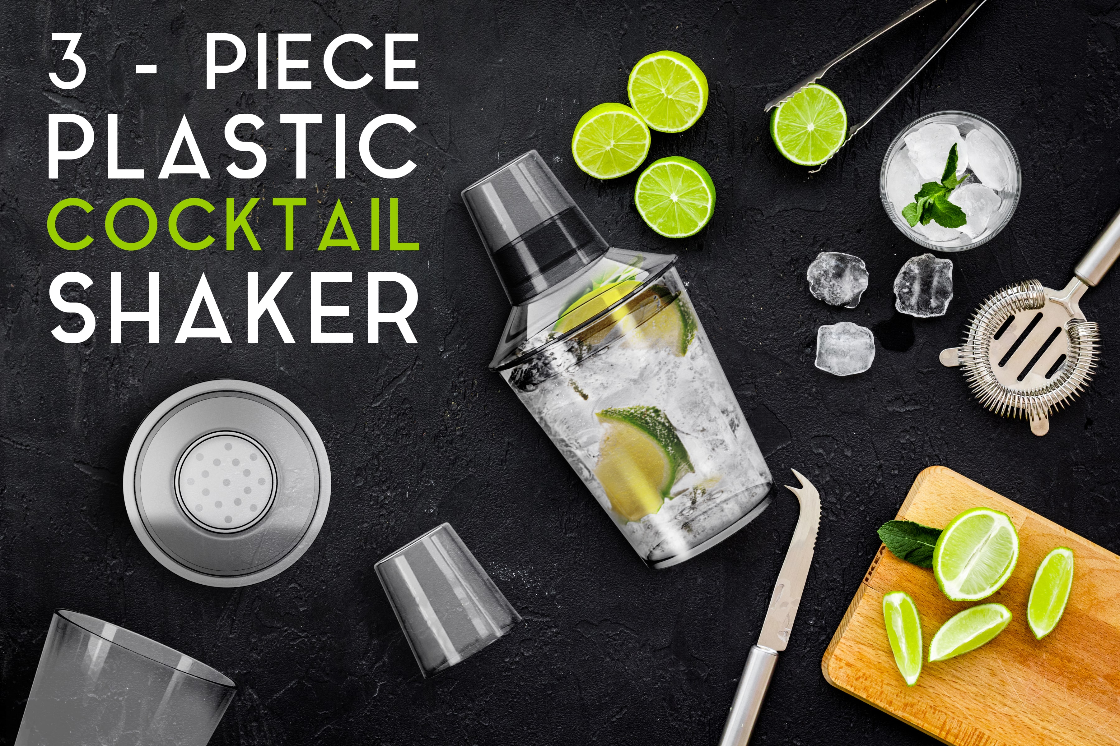 3 piece cocktail shaker