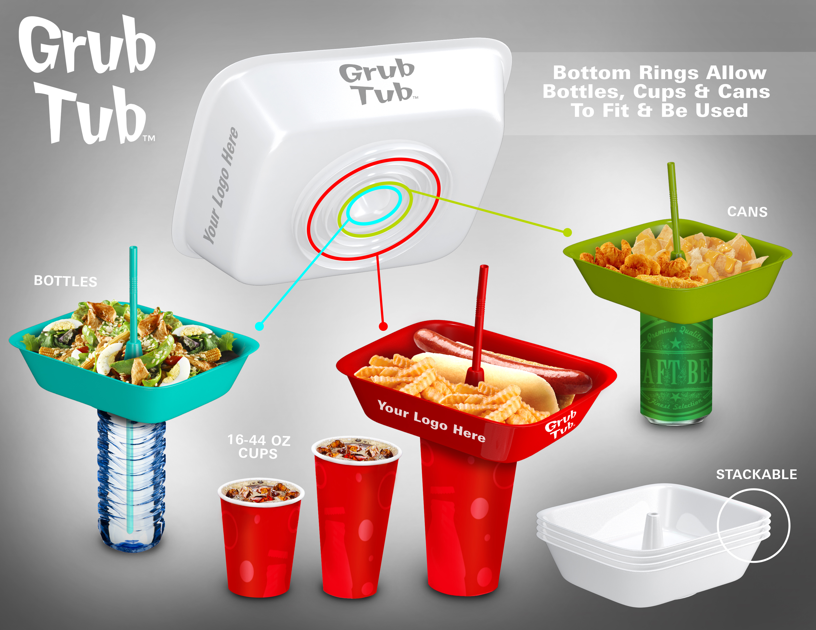 Grub Tub Fits on every standard sized cup, bottle and can