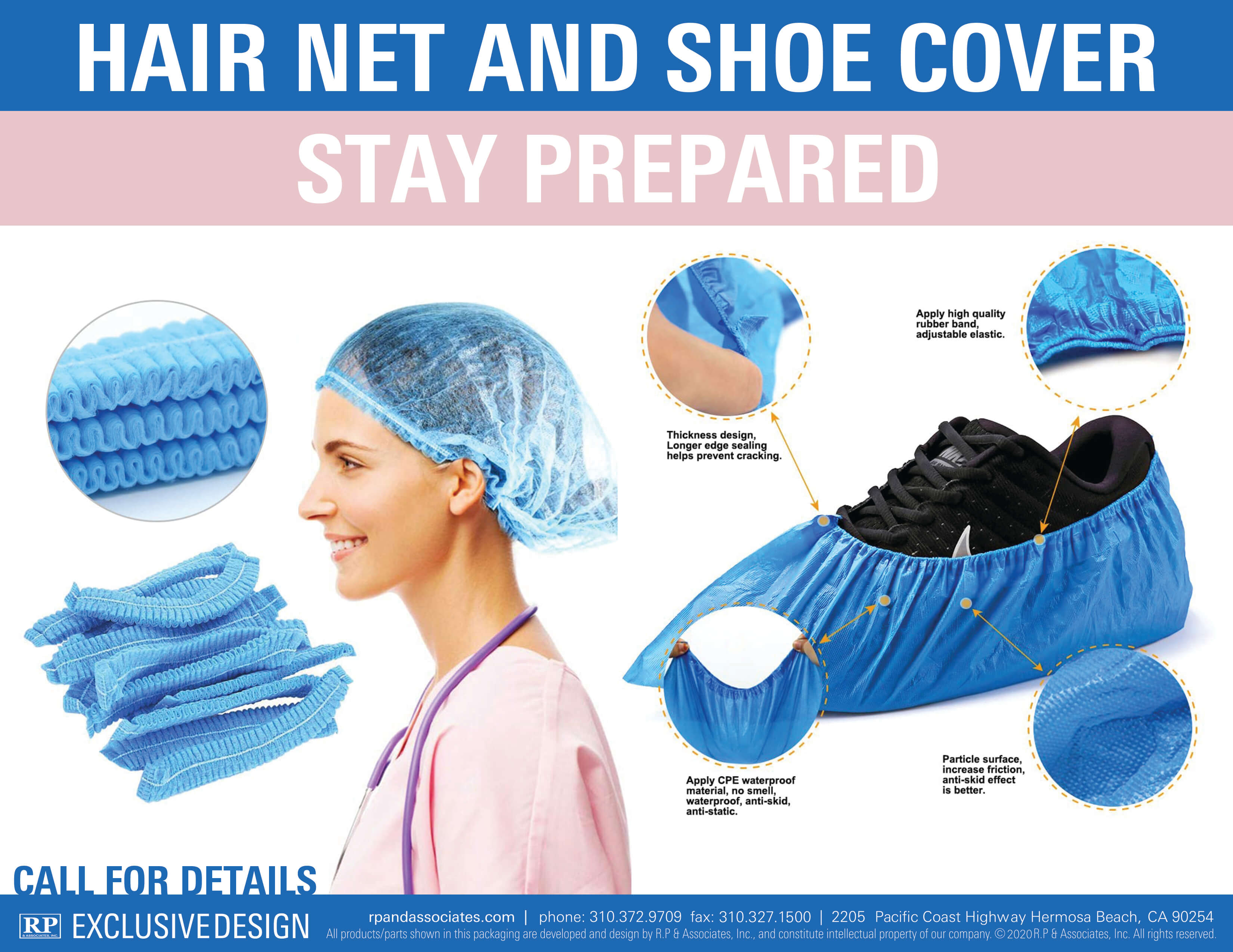 hair net and shoe cover