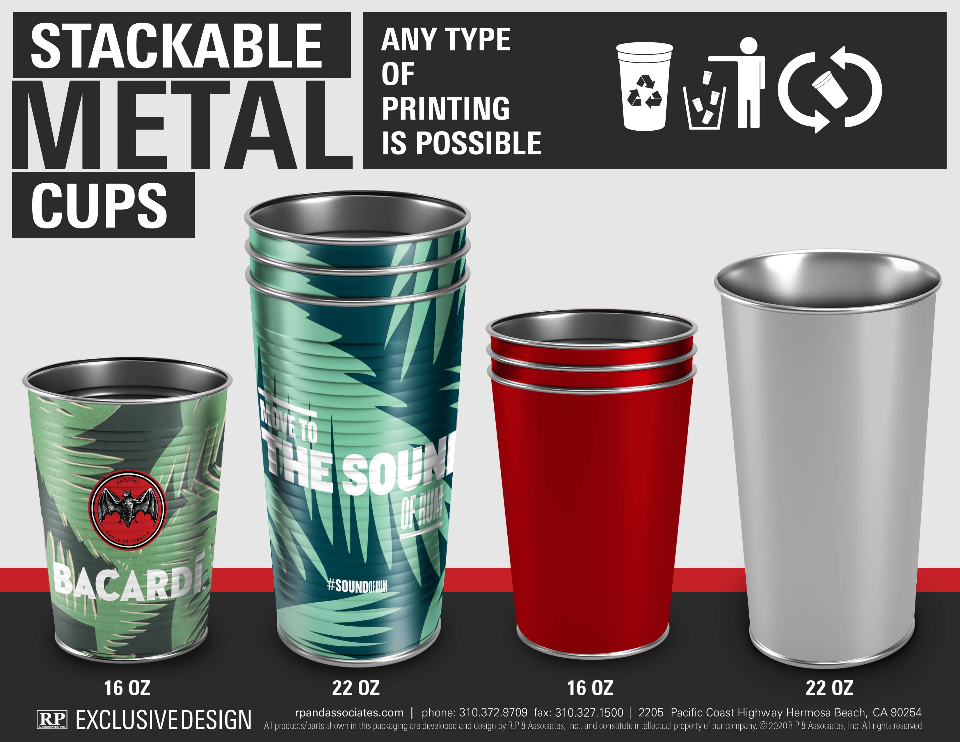 stackable tin can cups
